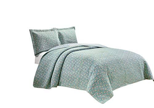-teiliges Pink Floral Blue Garden Vintage Washed 100% -cotton Wende Patchwork Quilt Set, baumwolle, blau, King Size ()