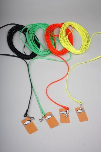 hundeinfo24.de 10 m genähte BioThane® Schleppleine/9 mm/4 Farbvarianten/Leine mit Handschlaufe/neonorange