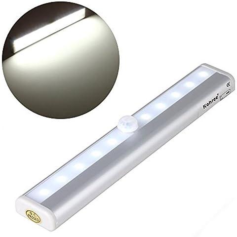 Wireless Sensor gabinete de iluminación de tira llevada DIY portátil varilla colocada a la ideal para el armario, 10-LED LED de luz con el
