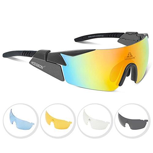 Radbrille polarisierte Sportbrille für Rad Ski-Laufen Golf mit 5 Wechselgläsern aus TR90 UV-Schutz für Herren und Damen in Grau