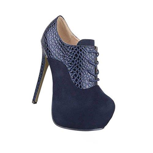 Damen Stiefeletten Schuhe Ankle Boots High Heels Schwarz Blau Rot 35 36 37 38 39 40 41 Blau
