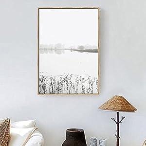 """JIALELE Illustrazione del paesaggio Wall Art,in lega di alluminio con materiale di telaio per decorazione Home Arte telaio Soggiorno piscina,16"""" x 24"""" (40cm x 60cm),Bianco"""