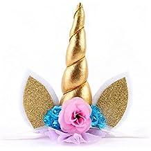 hscd1976Boy bebé flores diadema con orejas de cuerno de unicornio cabeza fiesta de cumpleaños regalo