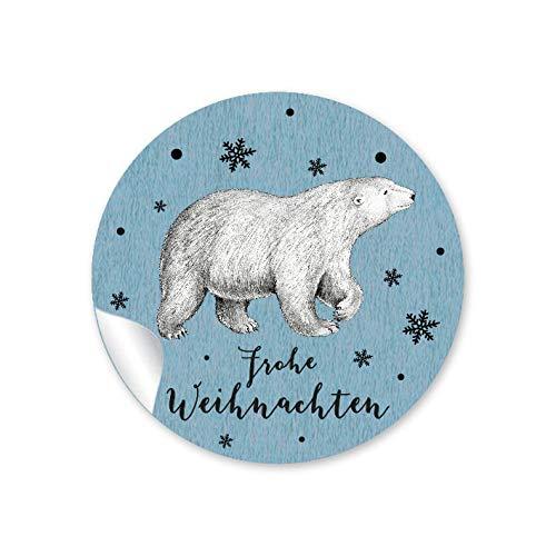 """24 STICKER: 24 Weihnachtssticker zu Weihnachten in BLAU mit Eisbär •\""""FROHE WEIHNACHTEN\"""" • Papieraufkleber/Aufkleber/Etiketten • Format 4 cm, rund, matt"""