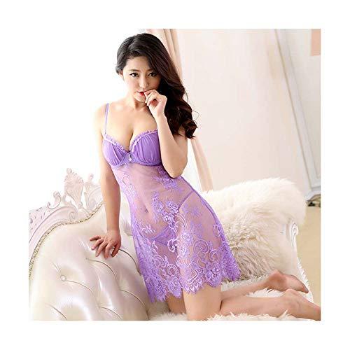 ZTIANR Frauen-Reizvolle Wäsche, Babydoll-Wäsche Für Frauen Sexy Chemise Set Lace Sheer Damen Nachtwäsche Nachtwäsche,B,XL -