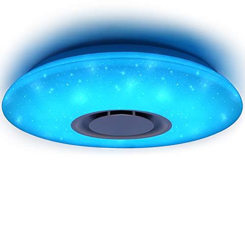 HOREVO 36W Lámpara de techo Regulable Plafonnier Plafón LED Lámpara con Altavoz Bluetooth, [APP con mando a distancia], luz blanca cálida / fría RGB cambio de color, montaje empotrado luz estrellada pantalla para niños sala de estudiantes