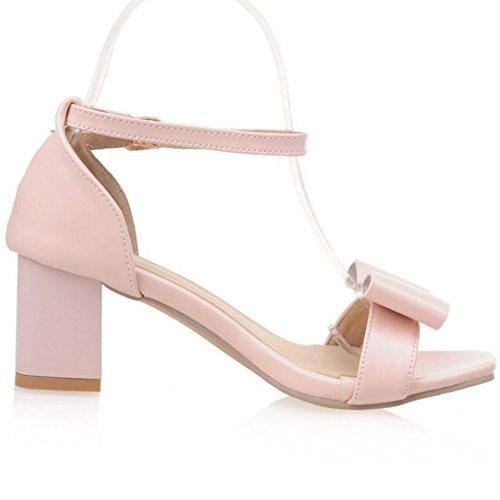 Toe Bogen Coolcept Mit Blockabsatz Open Knochelriemchen Mode Schuhe Sandalen Rosa Damen w7ZqF6X