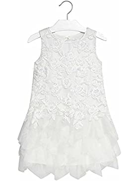 Mayoral Vestito Corpo Ricamato Junior Girl 6938 Panna