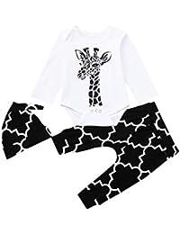 JYC Conjuntos para niñas,Ropa para Chicas,Bebé Impresión Largo Mangas Romper+Pantalones+Sombrero Niños Ropa Trajes Conjuntos