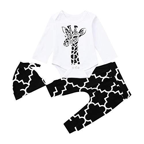 Sonnena 3PCS Mädchen Kleidung Set,Junge Outfit Set Langarm Hirsch Strampler Overall T-Shirt Tops + Lange Hose+but Bekleidungssets Girl Mode Tägliche Kleidung 1-2 Jahre Alt