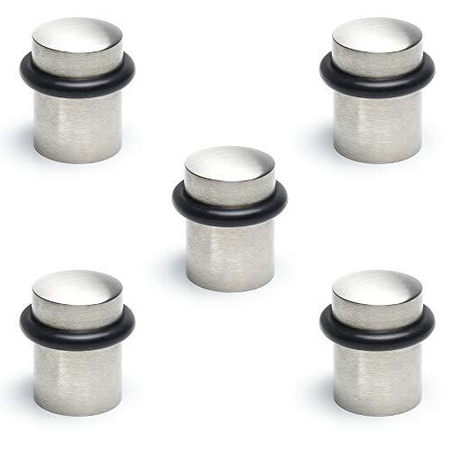 Sossai 5 x Metall Boden Türstopper TSM-XO | Edelstahl Optik | Möbelschonender Gummi Puffer Ring | Gewicht: 80g | Durchmesser: 3,5 cm | Inkl. Schrauben und Dübel | Made in EU