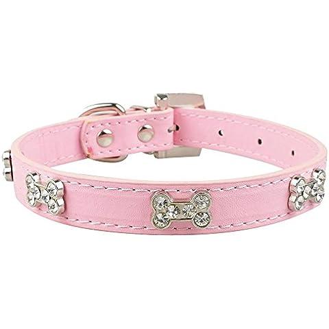 Valoxin(TM) Cuoio dell'unit¨¤ di elaborazione Diamante strass Bone Charm Pet Dog cucciolo del gatto del collare per Chihuahua