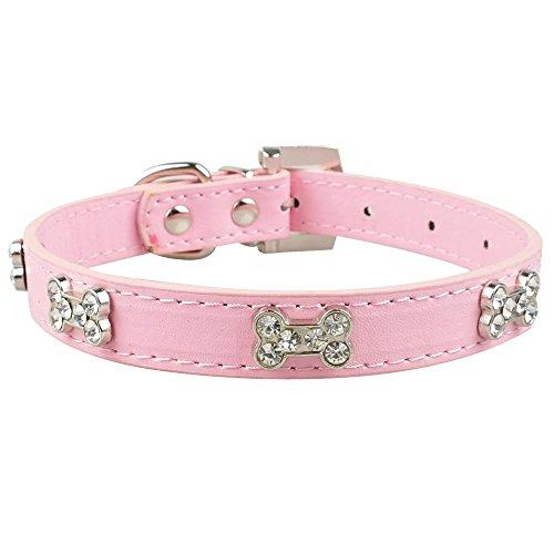 Valoxin(TM) Cuoio dell'unitš€ di elaborazione Diamante strass Bone Charm Pet Dog cucciolo del gatto del collare per Chihuahua