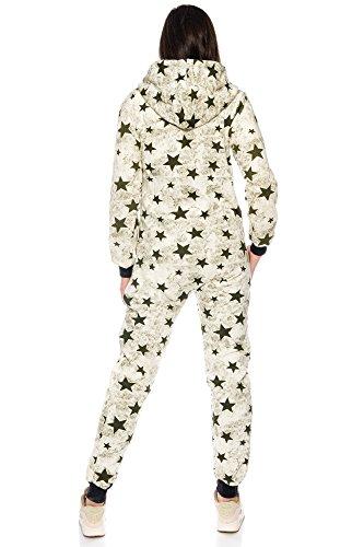 Jumpsuit Stars Jumpsuit Overall Einteiler Ganzkörperanzug von Crazy Age Sternen Sternschnuppe Khaki