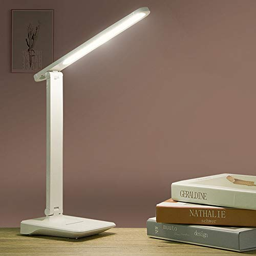 9W Sensor-Noten-LED-Lampe Touch-Controll Helligkeit einstellbar USB aufladbare Lese Eye-Protect LED Tischleuchte (Color : White-1200mAh Battery) -