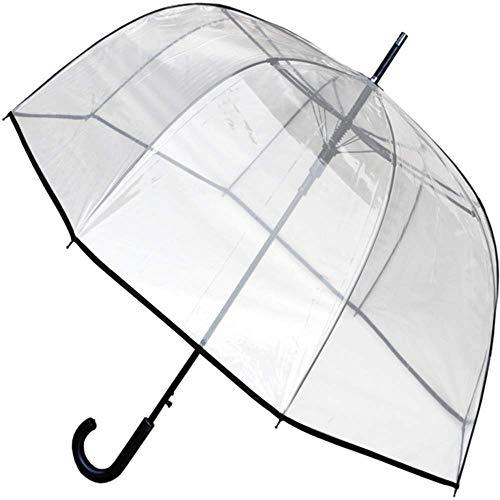 COLLAR AND CUFFS LONDON - SELTENE Automatik - SEHR STARK Windproof - Regenschirm Transparent - Verstärkt mit Fiberglas - StormDefender Panoramic - Durchsichtig - Stockschirm - Einfassband - Schwarz