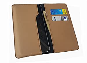 nKarta ™ OD Light Brown Flip Flap Wallet Pouch Mobile Cover Case with Card holder Slots for Spice Mobile Stellar 445