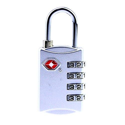 HMILYDYK, lucchetto a 4-cifre approvato TSA per valigia, borsa, lucchetto con combinazione per bagagli da viaggio e armadietti palestra, confezione da 1 pezzo Silver