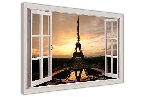 Eiffel Tower At Dawn Paris Bilder Fenster Bay Effekt, gerahmt Leinwand Bilder Room Art Prints Wand Poster 38 mm starke Rahmen, canvas holz, 04- A1 - 34