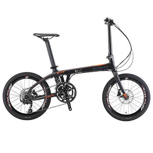 """Sava Faltrad, 20\"""" Kohlefaser Klapprad Faltrad Klappfahrrad Klappfahrräder Shimano 105 5800 22-Geschwindigkeit Schaltzug/Bremssystem Shimano M315 Ölbremse Mini Compact City Bicycle (schwarz orange)"""