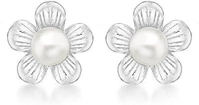 Tuscany Silver 8.58.8049 - Pendientes de plata con perla