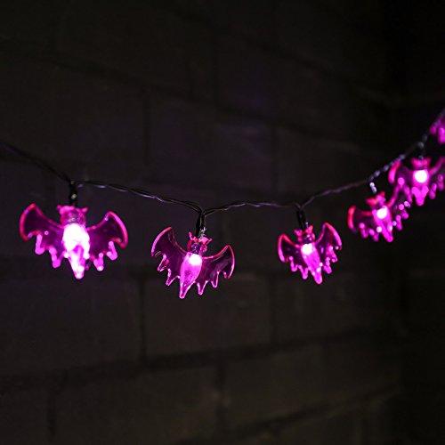 batteriebetriebene Halloween Lichterkette im Kürbiskopf- Fledermaus- oder Spinnen-Design - 10 LEDs in unheimlich gespenstisch, gruseligem Orange, Purpur oder Grün, von Festive Lights (Fledermaus - Purpur) (Designs Halloween-friedhof)