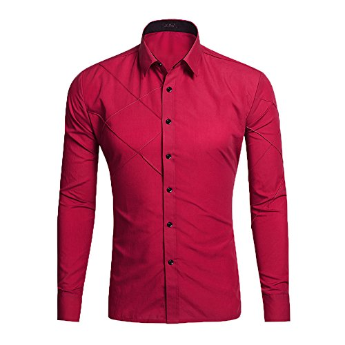 Feicuan Uomo Casual Solid Color maniche lunghe Slim Fit Button Down Camicia Wine Red