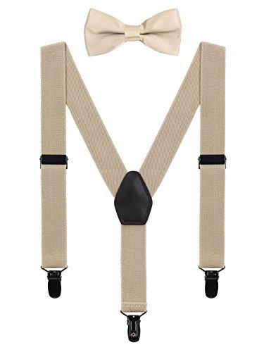 WANYING Baby Kleinkind Jungen Mädchen Hosenträger Fliege Set für 1-5 Jahre Kinder 3 Clips Y-Form Hosenträger Elastisch und Verstellbar - Beige - Junge 5 Kleid Anzug