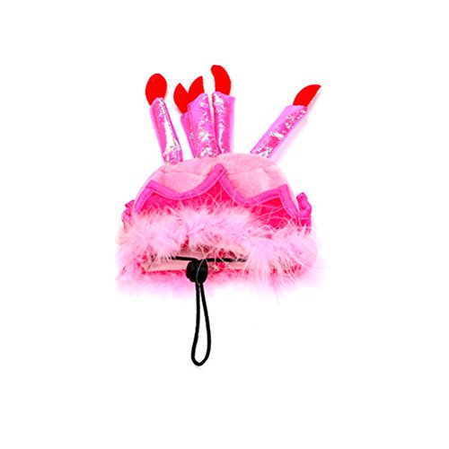 Katze Happy Birthday Party Hut mit Kuchen und Kerzen Cosplay Kostüm Zubehör Headwear (Pink) (Boston Terrier Kostüm Für Baby)