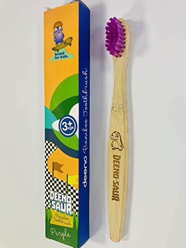 per bambini setole in morbida fibra plastica e senza BPA ecologico Deeno 100/% biodegradabile Spazzolino da denti in bamb/ù biologico per bambini dai 3 anni in su vegano
