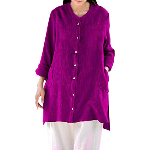 IMJONO Damen Langarmshirt Gestreift Pullover Rundhals Floral Longshirt Elegantes Shirt(EU-38/CN-L,Lila)