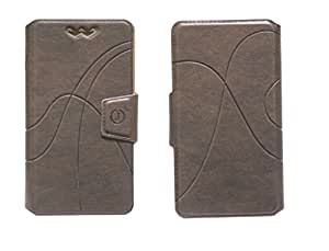 J Cover Oscar Series Leather Pouch Flip Case With Silicon Holder For Swingtel Superb Light Brown
