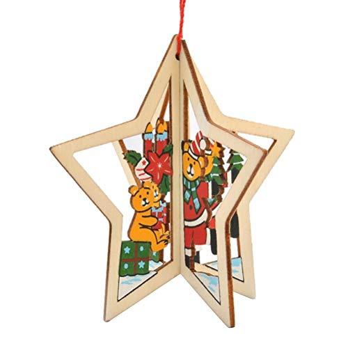 (Bearony Feiertags-Dekoration Holz stereoskopischen fünfzackigen Stern Weihnachtsbaum Anhänger Dekoration Ornamente für Festival Party hängenden Xmas Tree Decor)
