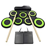 Roll Up Drum Kit Elektronische Digital Drum Portable - Faltbare Drum Pad Set Kinder Musical Praxis Instrument mit 2 Fuß Pedale, USB Kabel Drum Sticks Lautsprecher Kinder Anfänger - Weihnachtsgeschenk Test