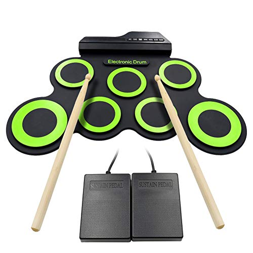 Roll Up Drum Kit Elektronische Digital Drum Portable - Faltbare Drum Pad Set Kinder Musical Praxis Instrument mit 2 Fuß Pedale, USB Kabel Drum Sticks Lautsprecher Kinder Anfänger - Weihnachtsgeschenk