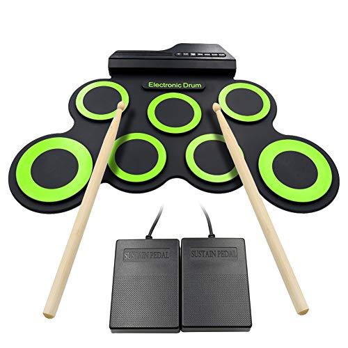 drumsticks kinder Roll Up Drum Kit Elektronische Digital Drum Portable - Faltbare Drum Pad Set Kinder Musical Praxis Instrument mit 2 Fuß Pedale, USB Kabel Drum Sticks Lautsprecher Kinder Anfänger - Weihnachtsgeschenk