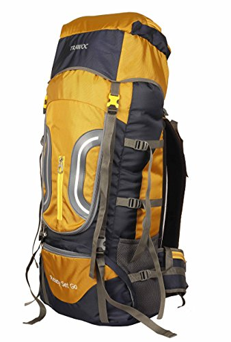 NOVICZ TRAWOC Synthetic Travel Backpack for Outdoor Sport Camp Hiking Trekking Bag HK005, 60L (Yellow, HK005-TRAWOC-YELLOW)