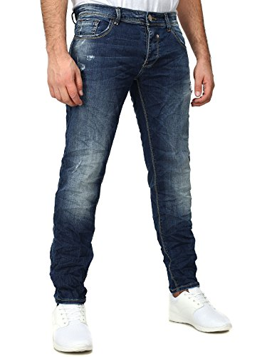 Y-Two Herren Slim Fit Jeans CAINS Leicht Verwaschen mit Destroyed Effekten Blau