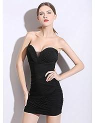 Las mujeres malla tubo superior discoteca Vestido . black . f