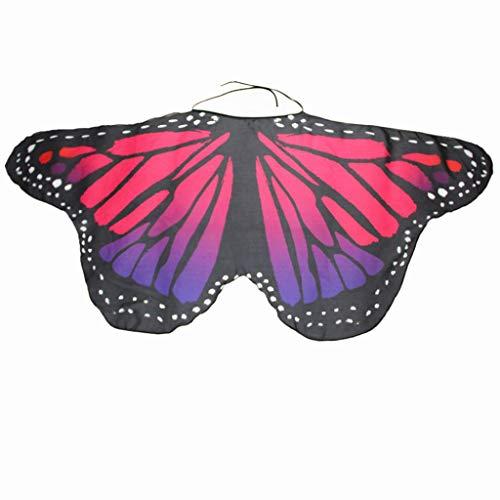 (IZHH Frauen/Damen Neuheit Feenhafte Nymphe Pixie Halloween Cosplay Karneval Zubehör Weihnachten Cosplay Kostüm Zusatz, Gedruckt Chiffon Schmetterlings Flügel Butterfly Cape Schal Wrap Kimono)