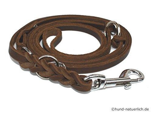 hundeinfo24.de Lederleine Hund 3-fach verstellbar geflochten, braun verchromt Fettleder Führleine (2,40m x 10mm)
