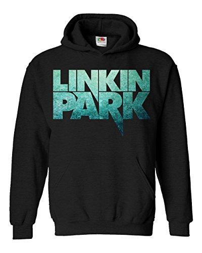 "Felpa Unisex ""Linkin Park"" - Text-only texture logo - Felpa con cappuccio rock band LaMAGLIERIA, M, Nero"