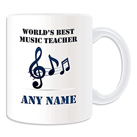 Personalised Gift - World's Best Music Teacher / Stave and Notes Mug (Academic Design Theme, White) - Any Name / Message on Your Unique - School College