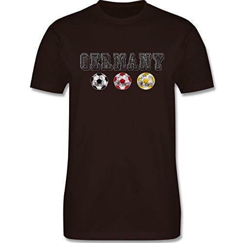 EM 2016 - Frankreich - Germany mit Fußbälle Vintage - Herren Premium T-Shirt Braun