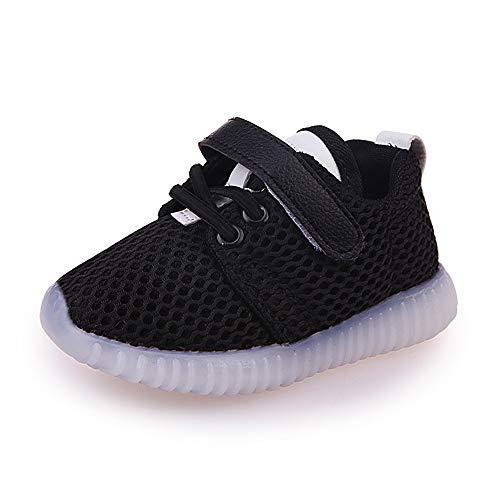 XINGKEJI 1-6 Jahre alt leuchten leuchtende Turnschuhe Kleinkind Kinder Baby mädchen Jungen Mode led licht leuchtende weiche Sohle Sport Sneaker Schuhe Size 22 (schwarz) Kleinkinder-kinder Sneakers Schuhe