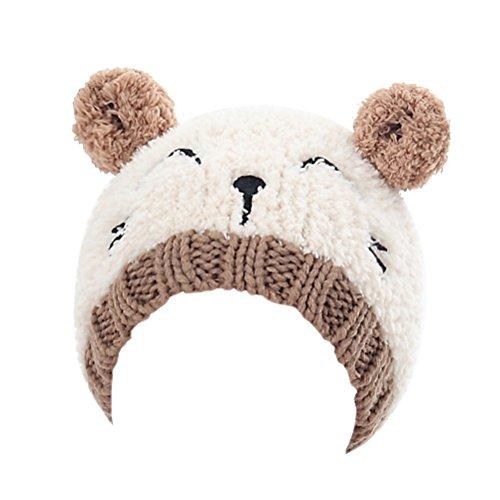Luoem cappellino neonato invernale caldo con orecchie da gatto berretto cappello lana bambino beige