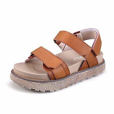 RUGAI-UE Sommer Mode Frauen Sandalen Schuhe Casual PU Komfort Fersen, Champagner, US 8 / EU 39/UK6/CN 39 Brown