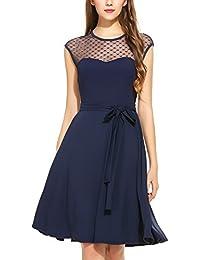 Zeagoo Elegant Damen Kleider Kurzarm Retro Vintage 50er Jahr Sewing  Rockabilly Kleid Cocktailkleid Abendkleid Ballkleid c355837daa