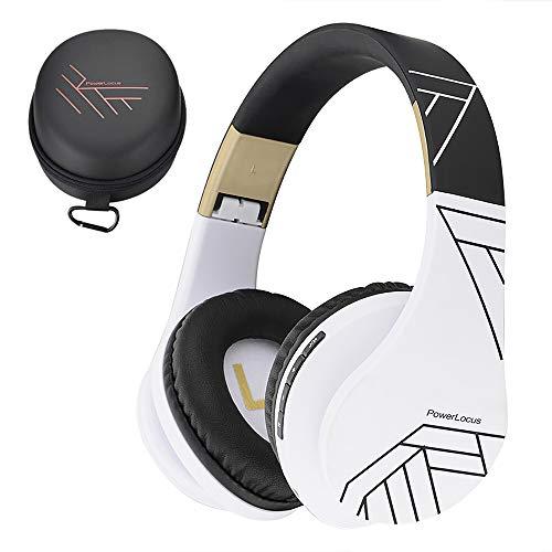 PowerLocus Bluetooth Over-Ear Kopfhörer, Kabellos Stereo Faltbare Kopfhörer Kabellose und Kabel-Kopfhörer mit Integriertem Mikrofon, Micro SD/TF, FM für Handys/iPad/Laptops & PC (Schwarz/weiß) -