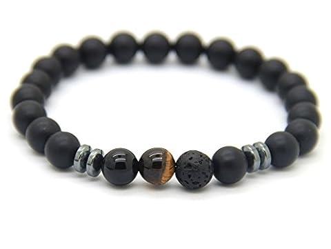 GOOD.designs Chakra Energie-Armband aus Lava-Natursteinen, Weltkugel aus Tigerperlen (Braun)